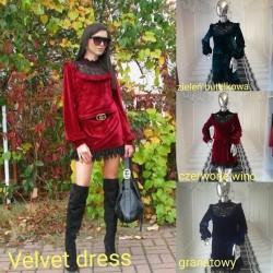 Czerwone wino  sukienka Velvet z koronką