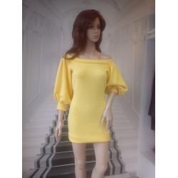 Sukienka  z rękawem pufiastym - beż