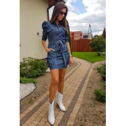 Sukienka jeansowa z ozbobnym rękwem