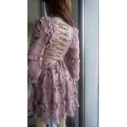 Sukienka z wiązaniem na plecach wrzosowo-śliwkowa